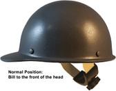MSA Skullgard Cap Style Hard Hats With Swing Suspension Textured GUNMETAL - Swing Suspension in Normal Position