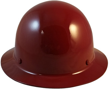 MSA Skullgard Full Brim Hard Hat with FasTrac III Ratchet Suspension - Maroon  - Oblique View