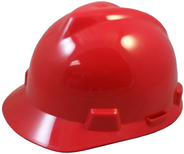 MSA V-Gard Cap Style with Fas-Trac III Suspensions - Red (Older Dates)