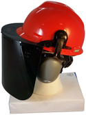MSA V-Gard Cap Style hard hat with Clear Face shield, Hard Hat Attachment, and Earmuff - Orange Side View Face shield Down