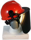 MSA V-Gard Cap Style hard hat with Clear Face shield, Hard Hat Attachment, and Earmuff - Orange Front View Faceshield Down