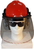 MSA V-Gard Cap Style hard hat with Clear Faceshield, Hard Hat Attachment, and Earmuff - Orange Front