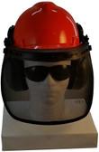 MSA V-Gard Cap Style hard hat with Pyramex Polycarbonate Mesh Faceshield - Orange