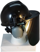 MSA V-Gard Cap Style hard hat with Pyramex Dark Green Faceshields, and Earmuff - Black - Down Position