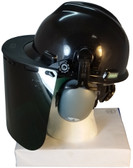 MSA V-Gard Cap Style hard hat with Pyramex Dark Green Faceshields, and Earmuff - Black - Left Side