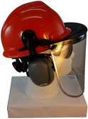 MSA V-Gard Cap Style hard hat with Pyramex Polycarbonate Clear Faceshield with Aluminum Bound Edges, Hard Hat Attachment, and Earmuff - Orange  - Down Position