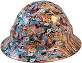 Superhero Sticker Bomb Full Brim Hydro Dipped Hard Hats - Oblique View