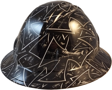 Maltese Cross and Skulls Full Brim Hydro Dipped Hard Hats - Oblique View