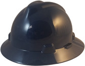 MSA V-Gard Full Brim Hard Hats with Fas-Trac Suspensions Navy Blue - Oblique View