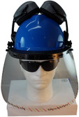 MSA V-Gard Cap Style hard hat with Clear Faceshield, Hard Hat Attachment, and Earmuff - Front View Earmuffs Up