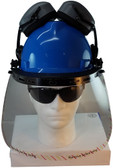 MSA V-Gard Cap Style hard hat with Clear Faceshield, Hard Hat Attachment, and Earmuff - Blue