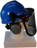 MSA V-Gard Cap Style hard hat with MSA V-Gard Cap Style hard hat with Pyramex Smoke Mesh Faceshield - Blue - Down Position