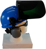 MSA V-Gard Cap Style hard hat with Dark Green Faceshield, Hard Hat Attachment, and Earmuff - Blue - Up Position