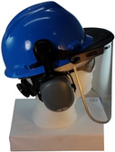 MSA V-Gard Cap Style hard hat with Pyramex Polycarbonate Clear Faceshield with Aluminum Bound Edges - Blue - Down Position