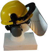 MSA V-Gard Cap Style hard hat with Polycarbonate Clear Faceshield, Hard Hat Attachment, and Earmuff - Yellow  - Partway Up Position
