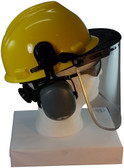 MSA V-Gard Cap Style hard hat with Pyramex Polycarbonate Clear Faceshield with Aluminum Bound Edges - Yellow - Down Position