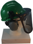 MSA V-Gard Cap Style hard hat with Smoke Mesh Faceshield, Hard Hat Attachment, and Earmuff - Green - Down Position
