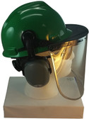 MSA V-Gard Cap Style hard hat with Pyramex Polycarbonate Clear Faceshield with Aluminum Bound Edges - Green - Down Position