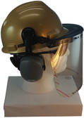 MSA V-Gard Cap Style hard hat with Polycarbonate Clear Faceshield, Hard Hat Attachment, and Earmuff - Gold - Down Position