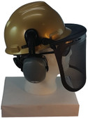MSA V-Gard Cap Style hard hat with Smoke Mesh Faceshield, Hard Hat Attachment, and Earmuff - Gold - Down Position