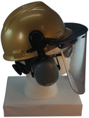 MSA V-Gard Cap Style hard hat with Pyramex Polycarbonate Clear Faceshield with Aluminum Bound Edges - Gold - Down Position