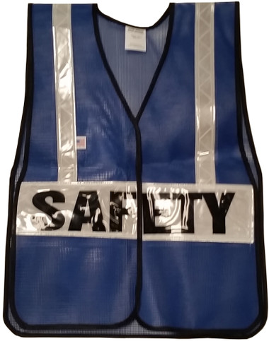 Dark Blue Soft Mesh Vests Printed Safety with Silver Stripes - Front View