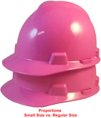 MSA Cap Style Small Hard Hats with Fas-Trac Suspensions Pink - Proportions Regular Size vs Jumbo Size