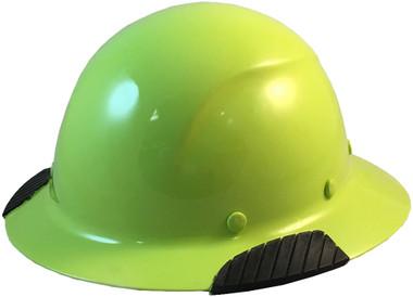 Actual Carbon Fiber Hard Hat - Full Brim High Vision Lime - Oblique View