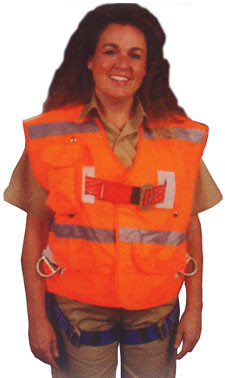 Ell River 3 D-Ring Harness Universal Size with Orange Outside Vest  - Supplemental View