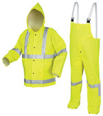 MCR Luminator 38 mm, PVC 3 Piece Class III Rainsuit Yellow with Silver Stripes- Size 3XL