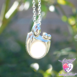 Family and Two Children Breast Milk Pendant in Sterling Silver