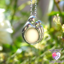 Mother and Two Children Breast Milk Pendant in Sterling Silver