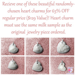 Randomly-Chosen Breast Milk Heart Charm. Please read product description for details.