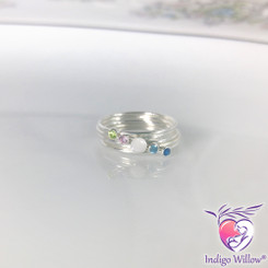 Birthstone Stacking Breast Milk Ring Set