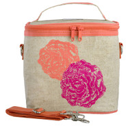 SoYoung Large Insulated Cooler Bag - Neon Orange Pink Peonies