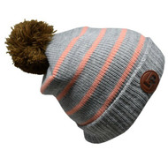 L&P Bobble Knitted Touque - Grey/Pink