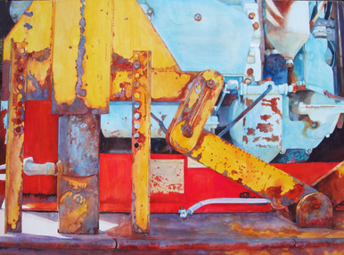 """Art of the Water God Original watercolor on Aquabord by Karen Vernon  A painting of a homemade irrigation pump  Picture Image 22"""" x 30"""" Ships in USA only"""