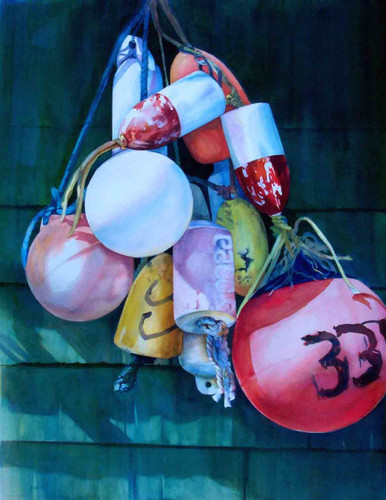 """Buoys  An original watercolor on 300# Arches by internationally recognized artist, Karen Vernon  Picture Image 24"""" x 18""""  Ships in USA only"""