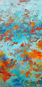 "Autumn Pool  An original oil and cold wax painting was created by recognized artist, Karen Vernon Picture Image 16"" x 8"" Framed in a double soft silver frame.  Ships in USA only"