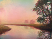 """Foggy Morning is an original acrylic painting on museum archival Pastelbord Created by Ken Muenzenmayer Picture Image Size: 16"""" x 20"""" Ships in USA only"""