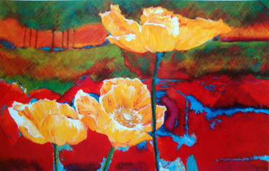 """Poppies  Offset lithograph from the original by Karen Vernon  9"""" x 14"""""""