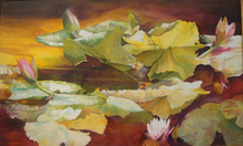 """Golden Pond is an original watercolor painting by Karen Vernon.  The image is that of waterlilies wrapped in a golden light.  The watercolor is presented on Ampersand Aquabord and presented in a 3"""" gold frame without glass, with archival varnsih.  Ampersand Aquabord is a museum grade, archival panel.  Karen Vernon is a internationally renowned watercolorist who holds signatures in notable organizations and has works in collections across the world.  Ships in USA"""