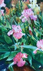 """A Return to My Beginnings is an original watercolor by Karen Vernon.  The image of pink irises in a garden is one that Vernon is widely known for.  Her iris gardens can be found in museums, royal family collections, and corporate collections across the world.  The painting is 60"""" high and 36"""" wide, painted in watercolor on a cradled Aquabord.  The painting sells unframed.  Ships in USA only, insured. If you wish to pick up in the gallery rather than ship, call 979-249-4119 to place order.)"""