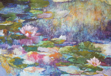 Homage is an oil and cold wax original painting by Karen Vernon.  It is predominantly in blue and is the image of a water lily garden.  It is painted on canvas.  Ships in USA only (insured) If you wish to pick up in the gallery rather than ship, call 979-249-4119 to place order.)