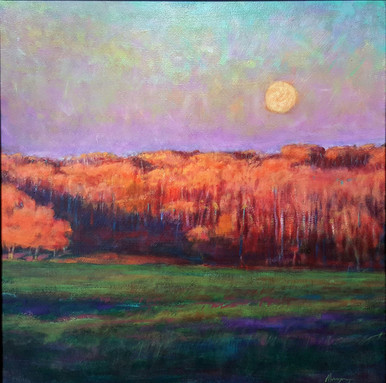 """The Golden Hour is an original acrylic painting by Ken Muenzenmayer.  The image, as the title implies, is a beautiful landscape late evening.  Picture image size 24"""" x 24""""  Ships in USA only (insured)  To pick up in the gallery rather than having it shipped, please call 979-249-4119 to place your order."""