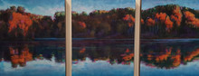 Autumn Leaves (Triptych) An original acrylic painting by Ken Muenzenmayer Picture image size 14 x 33  Made in Texas USA Ships in USA only