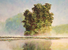 """Lake Pippin Morning  An original acrylic landscape painting by Ken Muenzenmayer  Picture Image Size:  16"""" x 20""""  Made in Texas USA  Ships in USA only  Ships insured"""