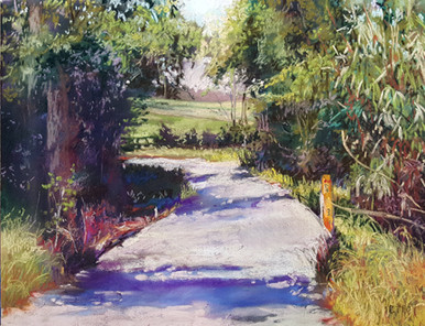 """Journey Into Spring III  Original pastel painting by Karen Vernon  Picture Image Size:  11"""" x 14""""  A rural road pastel painting.  Journey Into Spring III is the third in a series.  Ships in the USA only"""