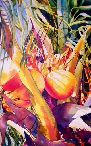 """Calusa  Original watercolor by Karen Vernon  Transparent watercolor on cradeled, museum quality archival Aquabord by Ampersand Art Supply  30"""" x 20""""  Golden Palm with vibrant magenta, perfect for any tropical room.  Ships in USA only"""