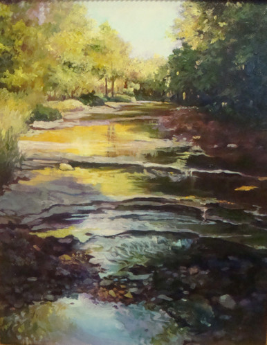 """The Ledges by Karen Vernon, a painting of a Texas stream.  Picture image 20"""" x 16""""  Oil  Ships in USA only"""